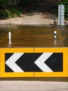 Barrier across Stanhope Ford in Weardale