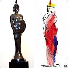 The customary Brit trophy (l) with Dame Vivienne Westwood's new design (r)
