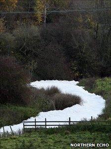 The foam on the River Skerne