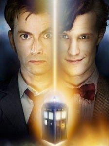 Former Doctor Who David Tennant and current incumbent Matt Smith