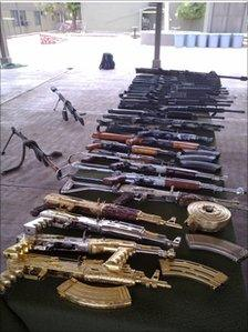 A selection of weapons seized by the Mexican army - file photo from June 2010