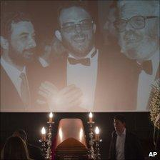 The coffin of Spanish film director Luis Garcia Berlanga