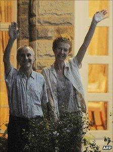 The Chandlers appeared outside the British High Commission in Nairobi, Kenya