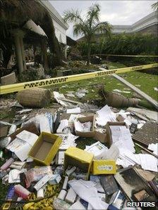 Debris from the Grand Riviera Princess hotel explosion