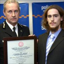 Zakk Griffiths receiving his award, picture courtesy of Richard Bishop