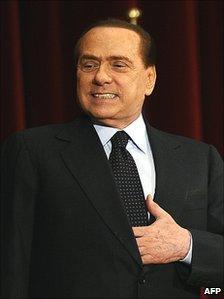 Prime Minister Silvio Berlusconi pictured in L'Aquila, Italy, on 9 November 2010
