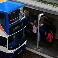Bus at post office with broken top window