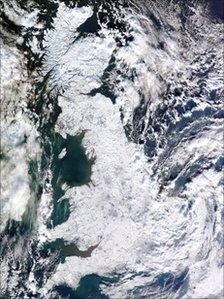 Satellite image of Britain under snow (Picture: University of Dundee)