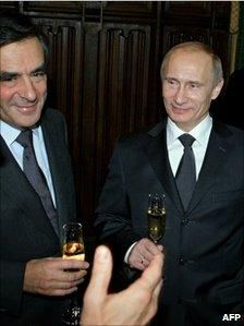 French Prime Minister Francois Fillon (left) meets his Russian counterpart, Vladimir Putin, in Moscow, 8 December