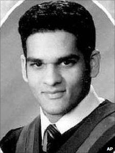 A school yearbook photo of Momin Khawaja