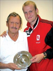 Malcolm Danby with Middlesbrough footballer David Wheater
