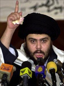 Moqtada Sadr delivers a sermon in Kufa (July 30, 2004)