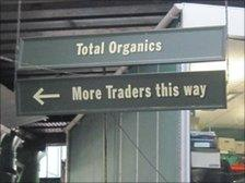 Sign in Borough Market reading 'more traders this way'