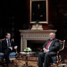 Mikhail Gorbachev (right) with Russian President Dmitry Medvedev, 2 March