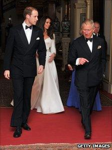 Duke and Duchess of Cambridge, Prince of Wales and Duchess of Cornwall leave for evening reception at Buckingham Palace