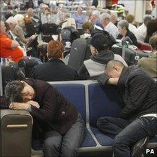 Passengers at Glasgow airport on 24 May 2011