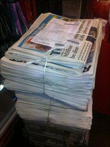 Leftover newspapers on Sunday 17 July 2011