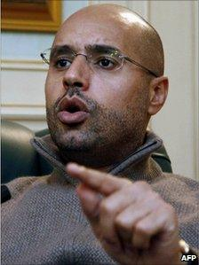 Picture dated February 26, 2011 shows Saif al-Islam Kadhafi speaking during an interview with AFP in Tripoli.