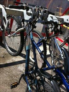 Bikes locked in a cycle rack