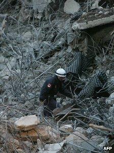 Bomb blast wreckage