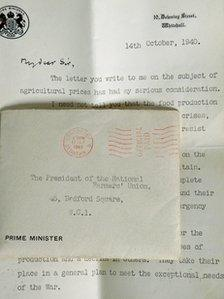 A typed letter from Sir Winston Churchill to the National Farmer's Union