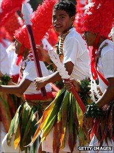 Tongan schoolchildren perform the Kailao dance