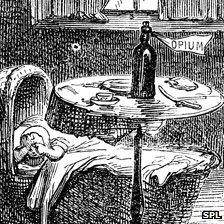 """Illustration of crying baby with bottle labelled """"opium"""" by its bedside"""