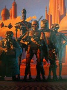 Original artwork titled Bounty Hunters in Cloud City by Ralph McQuarrie