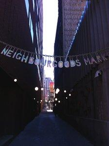 A sign to Neighbourgoods Market in Johannesburg