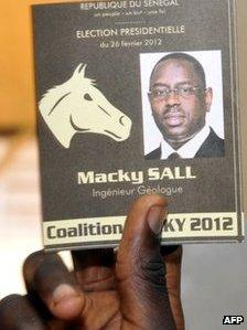 A ballot for Macky Sall showing the symbol of his party - the horse