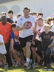 David Cameron at the Sport Relief Mile in Prestwood
