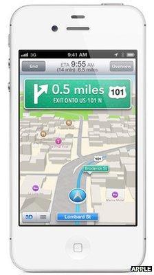 Apple iOS map screenshot