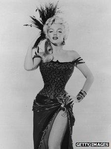 Marilyn Monroe in costume as dance hall girl in 1954