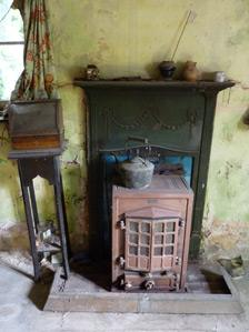1920s fireplace inside the cottage