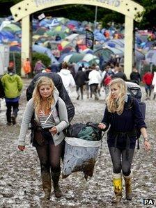 Festival-goers at a muddy Isle of Wight
