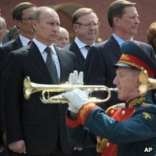 President Vladimir Putin at ceremony by Kremlin wall, 22 Jun 12