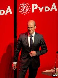 Dutch Labour Party leader Diederik Samsom appears before party members in Amsterdam, 12 September