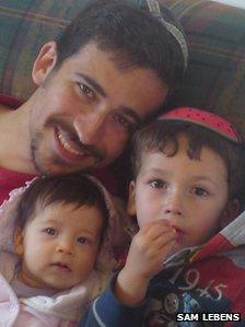 Dr Sam Lebens and his two children
