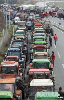 Tractors parked on a road near near Nikaia, Greece, 29 January