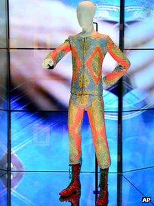 One of David Bowie's costumes on show at the V&A Museum in London