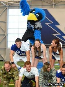 Prince Harry at Air Force Academy American football training session
