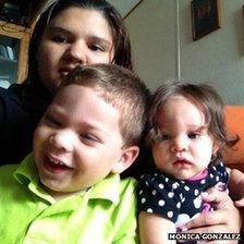 Monica Gonzalez and her children