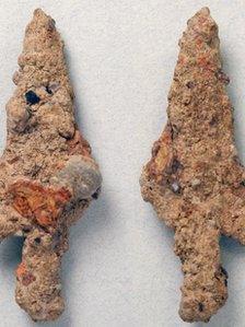 Medieval iron arrowhead