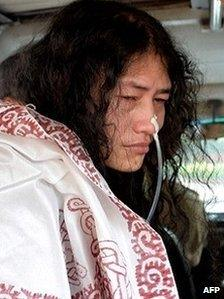 Irom Sharmila after court appearance in May 2014