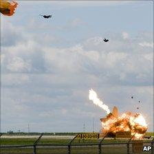 Capt Brian Bews ejecting from his plane