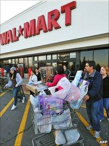 Shoppers at a US Wal-Mart store
