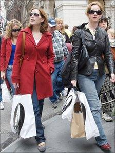 Shoppers in New York
