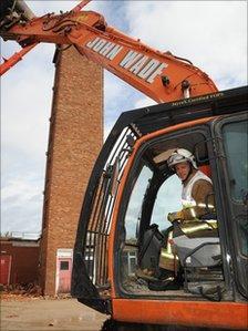 Demolition of Bishop Auckland fire station tower