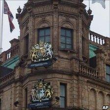 The royal coat of arms outside Harrods in 2000