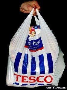A Tesco carrier bag